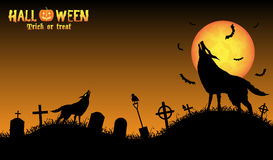 howling wolf with halloween background royalty free stock photos - Wolf Halloween