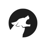 Howling wolf head logo or icon in black and white Stock Image