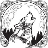 Howling Wolf Head with Moon and Ornate Frame Vector Illustration royalty free illustration
