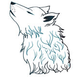 Howling Wolf Head. Stylized cartoon gray wolf head, howling wolf Stock Photos