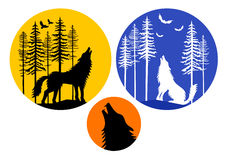 Howling wolf with moon, vector set Royalty Free Stock Photo