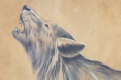 Howling wolf. Painted on leder Stock Images