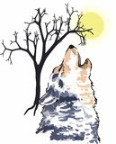 HOWLING WOLF SCENE Royalty Free Stock Photos