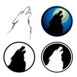 Howling wolf symbol. Vector illustration of wolf in various colors Royalty Free Stock Photo