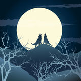 Howling wolves. The howling wolves on a hill against full moon Stock Image