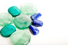 Howlite, Flourite and Lapis Lazuli healing crystals Royalty Free Stock Image