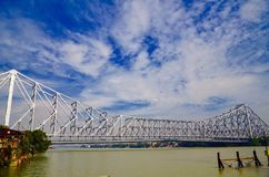 Howrah bridge at Kolkata. Ganga river in West Bengal Stock Photography