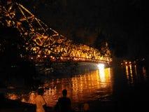 Howrah bro från bankerna av floden hoogly Royaltyfri Foto