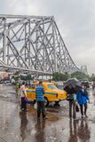 HOWRAH, INDIA - OCTOBER 27, 2016: View of Howrah Bridge, suspended span bridge over the Hooghly River in West Bengal. India royalty free stock photography