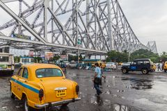 HOWRAH, INDIA - OCTOBER 27, 2016: View of Howrah Bridge, suspended span bridge over the Hooghly River in West Bengal. India stock photo