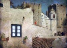 Hows, крыши и стены замка в bidos à «, Португалия иллюстрация вектора