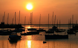 Howt marina at sunset. Picture taken of the marina of Howt Ireland at north side of the Dublin bay at sunset Royalty Free Stock Photos