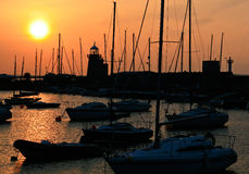 Howt marina at sunset Royalty Free Stock Image