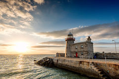 Howth Marina Lighthouse Royaltyfria Foton