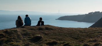 Howth ståndsmässiga Fingal, Irland Scenisk sikt av den Dublin kusten Arkivbilder