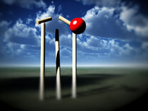 Howzat. A image of a cricket ball smashing a wicket Royalty Free Stock Photo