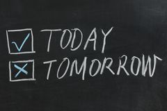 Hoy o mañana Fotografía de archivo
