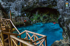 Hoyo Azul Grotto - Republic Dominican stock photography