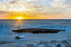 Hoyo 22 del cráter del gas de Darvaza imágenes de archivo libres de regalías