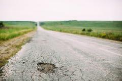 Hoyo en el camino Imagen de archivo