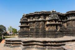 Hoysaleshwara印度寺庙, Halebid,卡纳塔克邦,印度 图库摄影