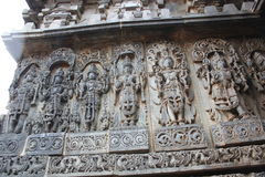 Hoysaleswara Temple Wall Carving of Various Hindu Gods. This is Hoysaleswara Temple Wall Carving of Various Hindu Gods. This temple was built in 12th Century by royalty free stock photos