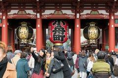 Hozomon Senso-ji tempel Asakusa, Tokyo - Japan Fotografering för Bildbyråer