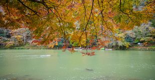 Autumn scenery in Kyoto, Japan. Hozu River at Arashiyama in Kyoto, Japan. Arashiyama is a nationally designated Historic Site and Place of Scenic Beauty Royalty Free Stock Photos