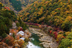 Hozu River with autumn foliage, Arashiyama. Top view of Hozu River with autumn foliage colors from Arashiyama view point, Kyoto, Japan Stock Images