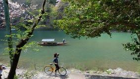 Hozugawa河,在Arashiyama附近,京都,日本 免版税库存图片