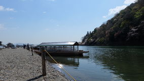 Hozugawa河,在Arashiyama附近,京都,日本 库存图片