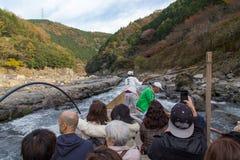 Hozugawa River Cruises at Arashiyama, Kyoto, Japan. Kyoto, Japan - December 2, 2015: Hozugawa River Cruises are sightseeing boat rides down the Hozugawa River Stock Photo