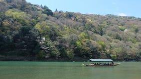 Hozugawa River, near Arashiyama, Kyoto, Japan. Hozugawa River Cruises & x28;保津川下り, Hozugawa Kudari& x29; are sightseeing boat rides down the Hozugawa Stock Photography