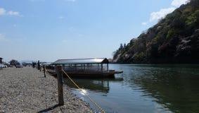 Hozugawa River, near Arashiyama, Kyoto, Japan. Hozugawa River Cruises & x28;保津川下り, Hozugawa Kudari& x29; are sightseeing boat rides down the Hozugawa Stock Images