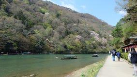 Hozugawa River, near Arashiyama, Kyoto, Japan. Hozugawa River Cruises & x28;保津川下り, Hozugawa Kudari& x29; are sightseeing boat rides down the Hozugawa Stock Photos