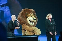 HP CEO Meg Whitman i DreamWorks CEO Jeffrey Katzenberg Zdjęcie Royalty Free