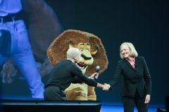 HP CEO Meg Whitman i DreamWorks CEO Jeffrey Katzenberg Fotografia Royalty Free