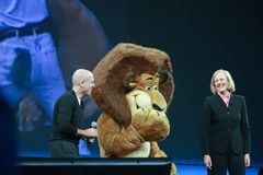 HP CEO Meg Whitman i DreamWorks CEO Jeffrey Katzenberg Fotografia Stock