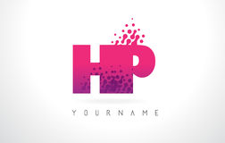 HP H.P.与桃红色紫色颜色和微粒小点Des的Letter Logo 免版税库存图片