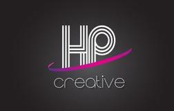 HP H.P.与线设计和紫色Swoosh的Letter Logo 库存图片