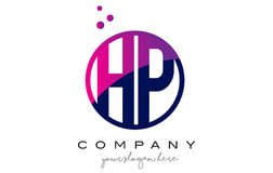 HP H.P. Circle Letter Logo Design avec Dots Bubbles pourpre Images stock