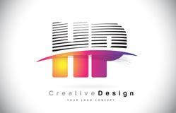HP H.P. Letter Logo Design With Creative Lines et Swosh dans Purpl Photographie stock libre de droits
