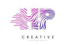 HP H.P. Zebra Lines lettre Logo Design avec des couleurs magenta Photographie stock libre de droits