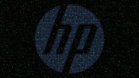 HP Inc. logo made of flashing hexadecimal symbols on computer screen. Editorial 3D rendering. HP Inc. logo made of flashing hexadecimal symbols on computer stock video