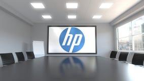 HP Inc logo på skärmen i en mötesrum Redaktörs- tolkning 3D royaltyfri illustrationer