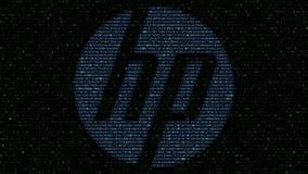 HP Inc logo som göras av hexadecimalsymboler på datorskärmen Redaktörs- tolkning 3D royaltyfri illustrationer