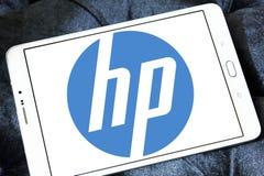 Hp logo. Logo of electronics company hp on samsung tablet Stock Image