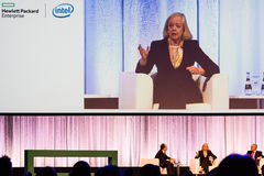 HPE president and chief executive officer Meg Whitman in conversation with other HPE managers Stock Images