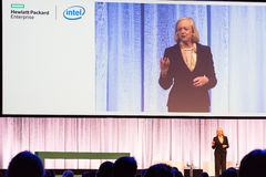 HPE president and chief executive officer Meg Whitman delivers a speech Royalty Free Stock Image