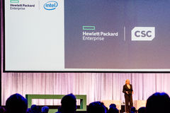 HPE president and chief executive officer Meg Whitman is talking about the CSC merger Stock Image
